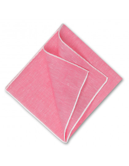 Simonnot Godard Einstecktuch rosa mit weißem Rand