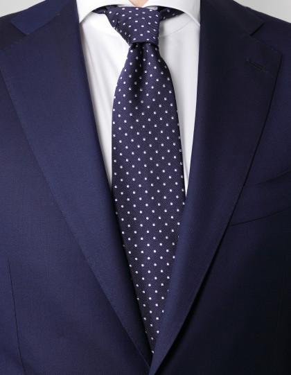 Cesare Attolini Krawatte in blau mit flieder Punkten