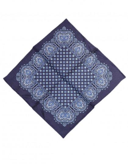 Cesare Attolini Einstecktuch in dunkel blau mit hell blauem Muster