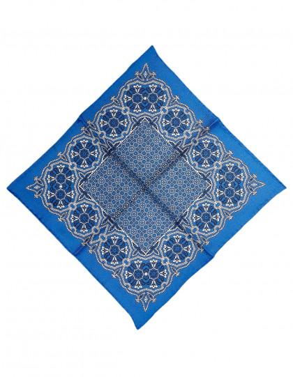 Cesare Attolini Einstecktuch in hell blau mit weißem Muster