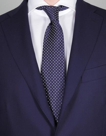 Luigi Borrelli Krawatte in dunkel blau mit weißen Karos
