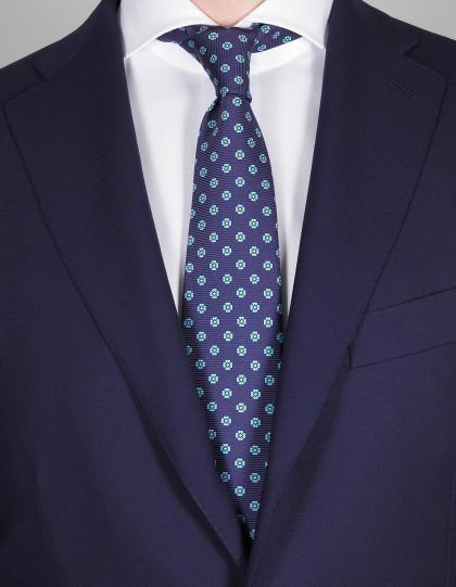 Kiton Krawatte in dunkel blau mit türkis-grünen Blumen
