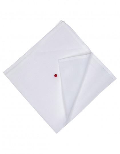 Kiton Einstecktuch in weiß mit abgesetzter Borte und einem roten Punkt