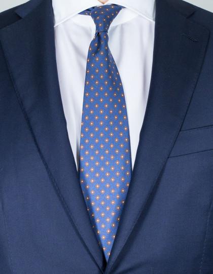 Cesare Attolini Krawatte in blau mit weiß-braunem Muster