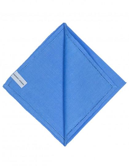 Simonnot Godard Einstecktuch in blau mit abgesetzer Borte