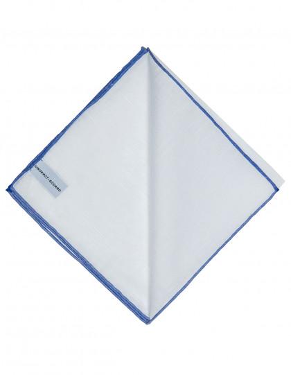 Simonnot Godard Einstecktuch in weiß mit handrollierter blauer Borte