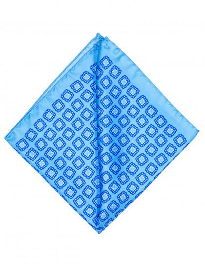 Cesare Attolini Einstecktuch in hellblau mit blau weißem Muster