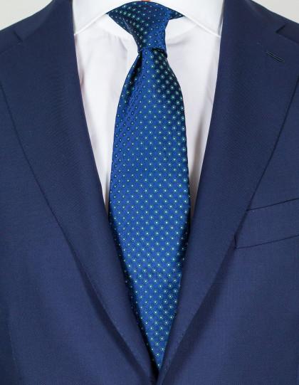 Luigi Borrelli Krawatte in dunkelblau mit weiß-grünen Blumen