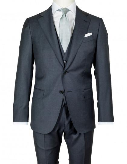 Caruso Anzug in dunkelgrau mit Weste aus Superfine 130'S Wolle