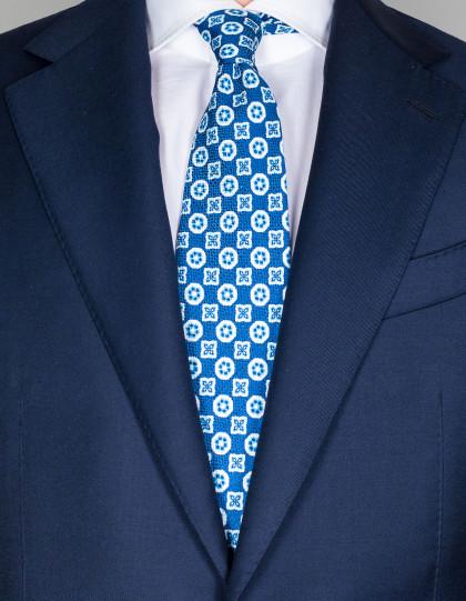 Cesare Attolini Krawatte in blau mit hellblauem/weißen Muster