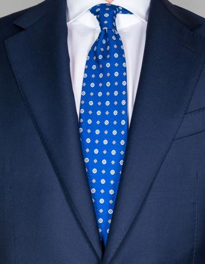Luigi Borrelli Krawatte in blau mit hellblau/weißen Blumen