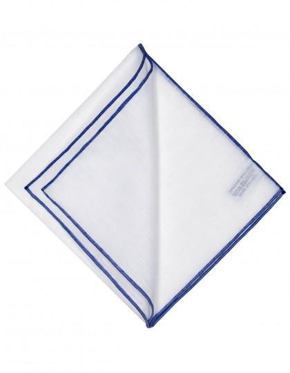 Simonnot Godard Einstecktuch in weiß mit blauer handrollierter Borte