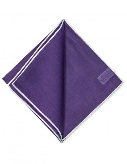 Simonnot Godard Einstecktuch in purpurviolett mit weißer handrollierter Borte