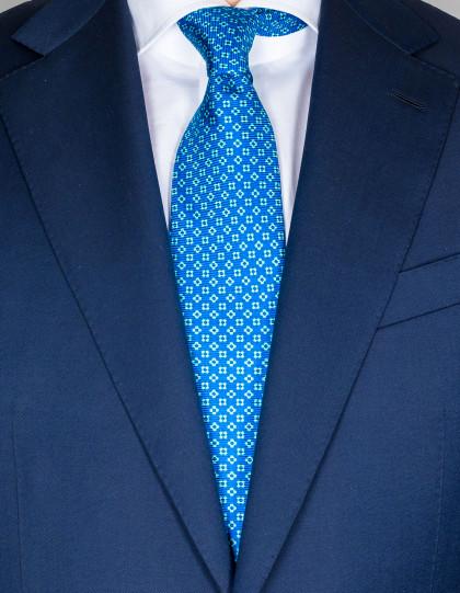 Kiton Krawatte in blau mit hellblau-weiß-dunkelblauem Muster