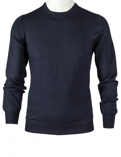 SOBS Rundhalspullover in schwarz aus Schurwolle