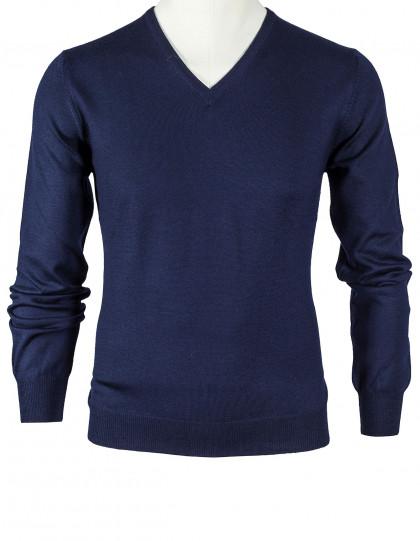 SOBS V-Kragenpullover in dunkelblau aus Schurwolle