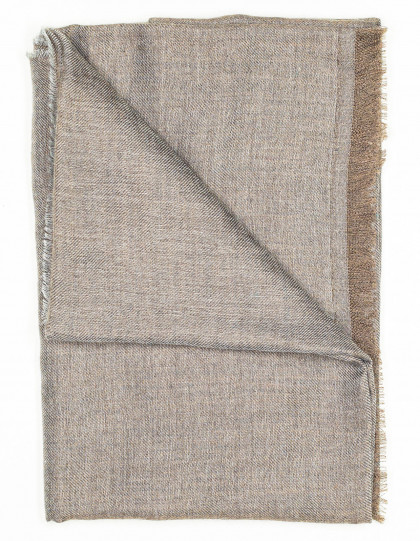 Kiton Schal in grau-braun aus Kaschmir/Seide