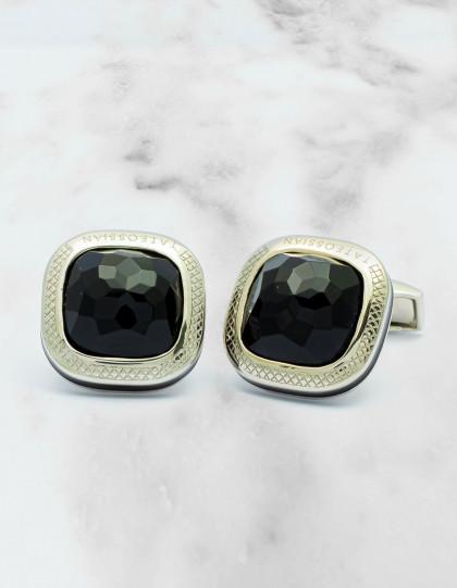 Tateossian Onyx schwarz / schwarz Emaille Sterling Silver Manschettenknöpfe