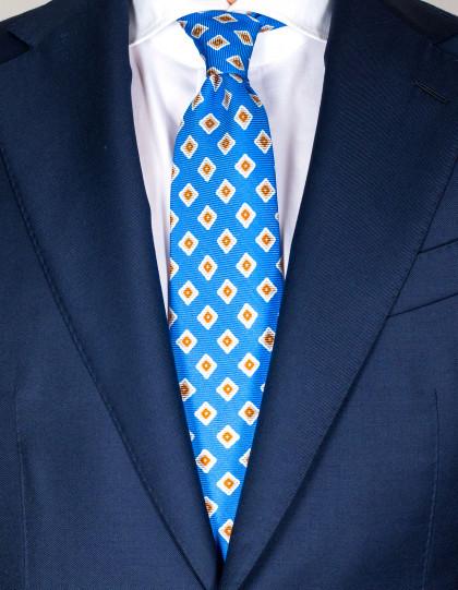 Kiton Krawatte in napoliblau mit beige-braun-weißem Muster