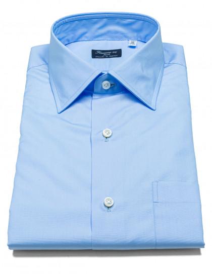 Finamore 1925 Hemd in blau mit Brusttasche und Kentkragen