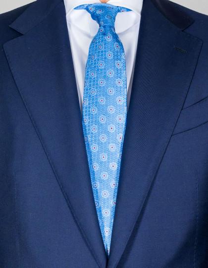 Kiton Krawatte in hellblau mit hellblau-weiß-roten Blumen