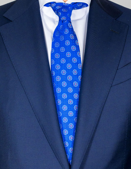 Kiton Krawatte in blau mit blau-weiß-roten Blumen