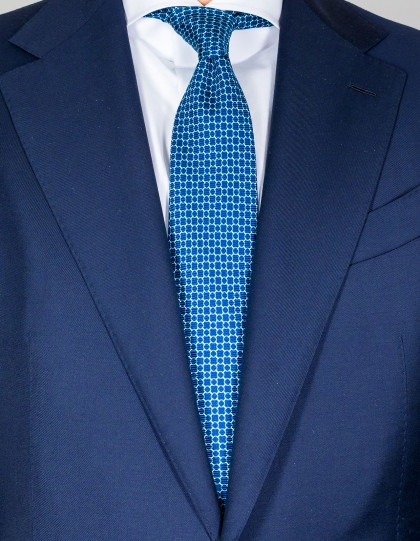 Kiton Krawatte in dunkelblau mit türkis-weißem Muster