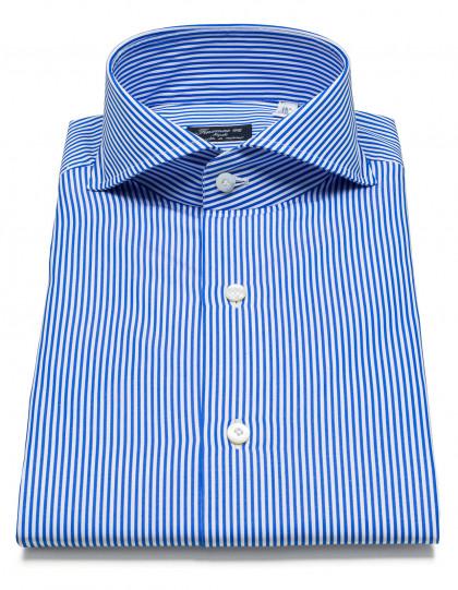 Finamore 1925 Hemd in blau gestreift mit Haikragen