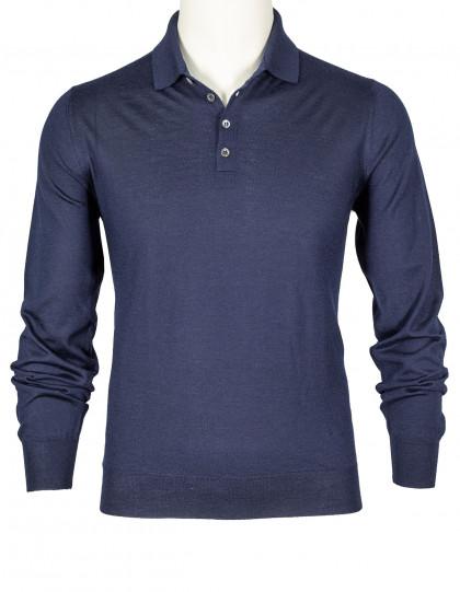 SOBS Pullover mit Polokragen in dunkelblau aus Kaschmir