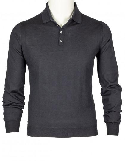 SOBS Pullover mit Polokragen in schwarz aus Kaschmir
