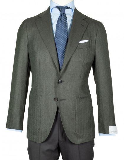Caruso Sakko in dunkelgrün mit Fischgratmuster und aufgesetzten Taschen aus Wolle