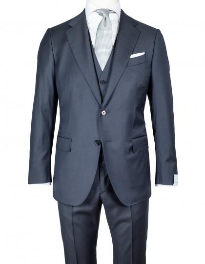 "Caruso Anzug mit Weste in dunkelblau aus ""Loro Piana Four Seasons"" Super 130'S Wolle"