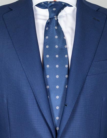 Kiton Krawatte in dunkelblau mit weißen Blumen