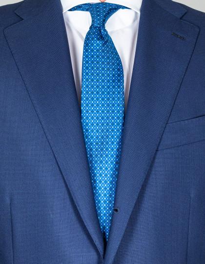Kiton Krawatte in blau mit hellblau-weißen Punkten