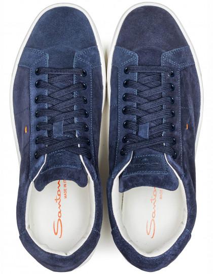 Santoni Sneaker in dunkelblau aus Veloursleder