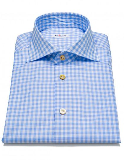 Kiton Hemd in hellblau mit Vichy-Muster und Haikragen