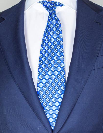 Cesare Attolini Krawatte in blau mit hellblau-weiß-dunkelblauem Muster