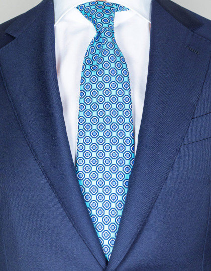 Cesare Attolini Krawatte in türkis blau-dunkelblau-weißem Muster