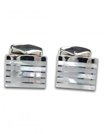 Tateossian Silver Stripe Rectangle MOP Manschettenknöpfe